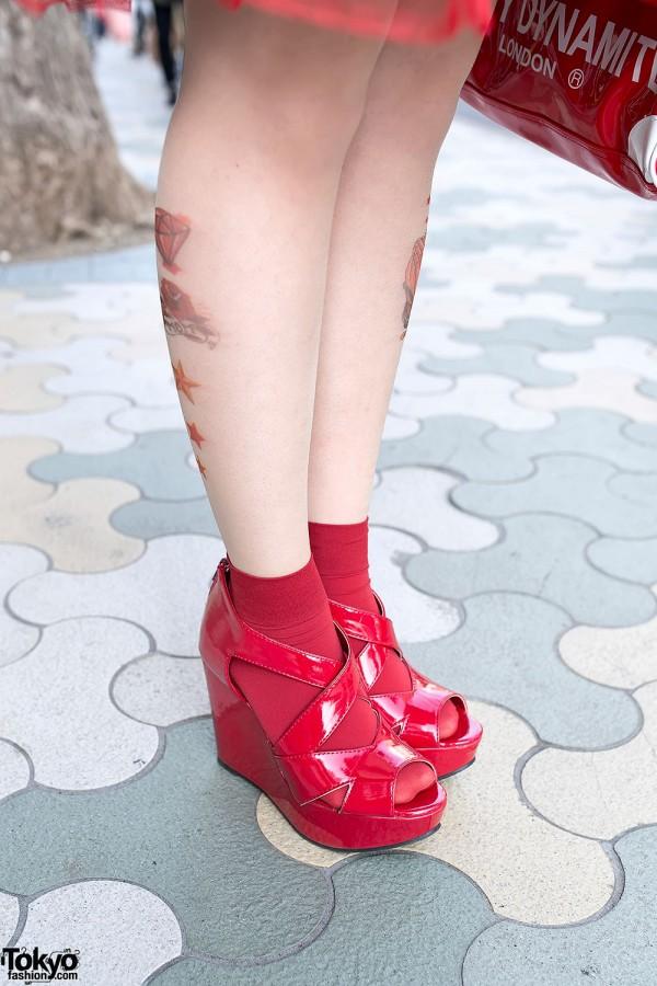 Tattoo Tights & Wedges in Harajuku