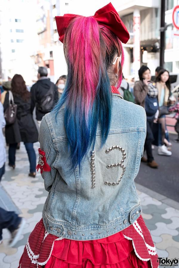 Pink-blue Dip Dye Hair, Harajuku