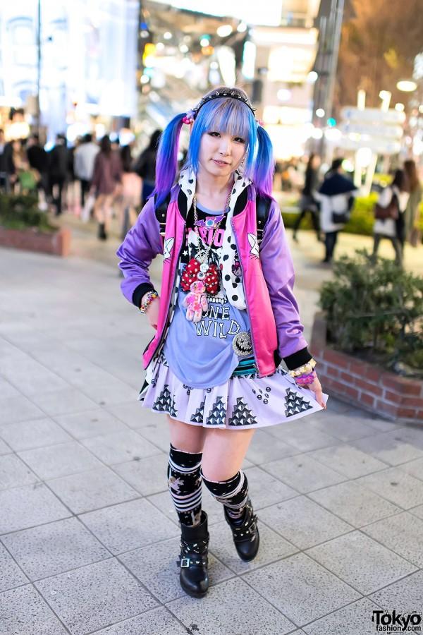 Listen Flavor Cat Jacket, Blue-Pink Twintails & Eyeball Teddy Bear in Harajuku