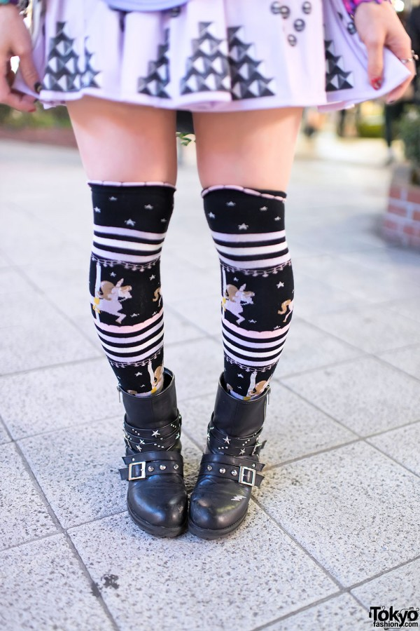 Unicorn print knee-high socks