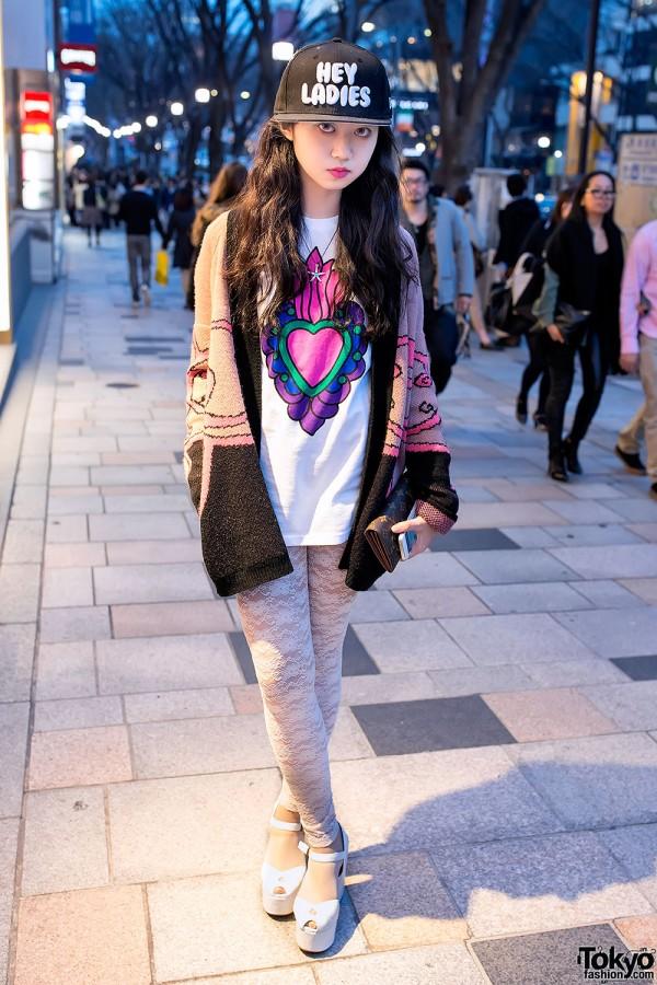 Harajuku Girl in Lace Tights & Sweater