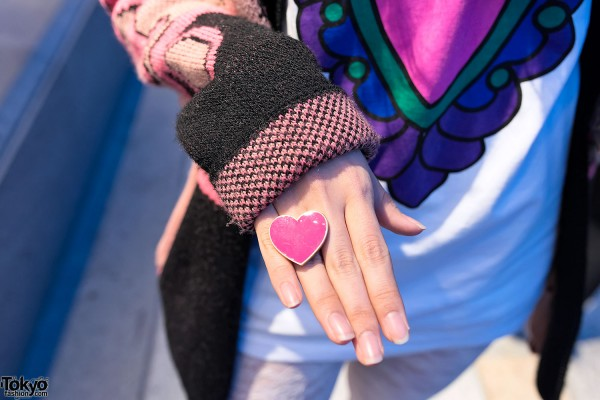 Large Pink Heart Ring