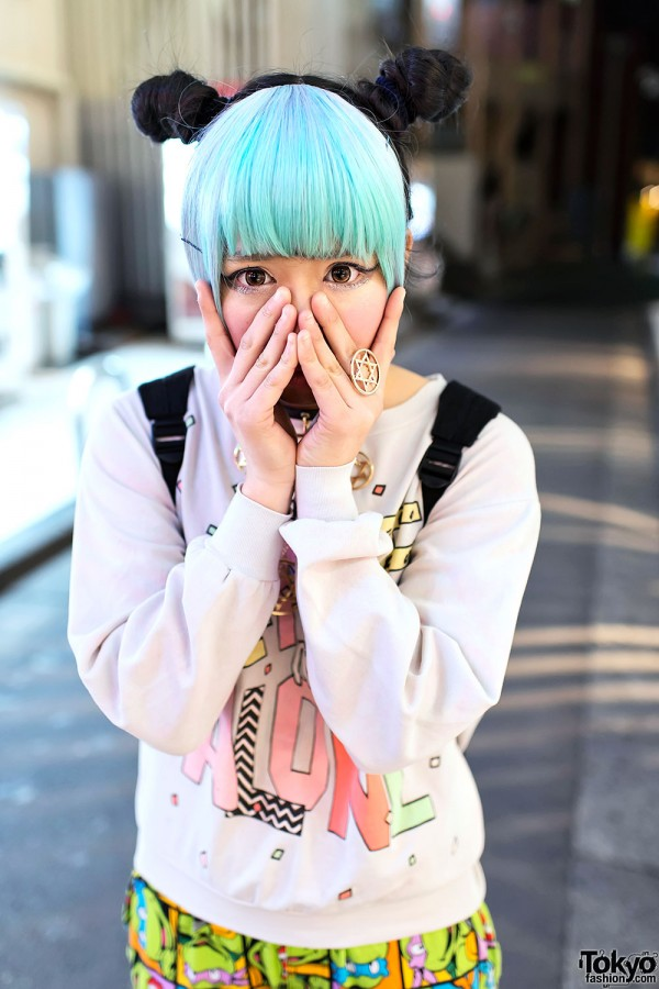Blue Bangs & Odango Buns in Harajuku