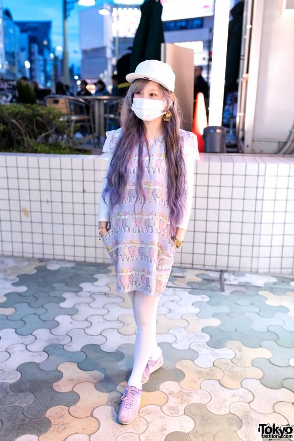 Pastel Print Dress in Harajuku