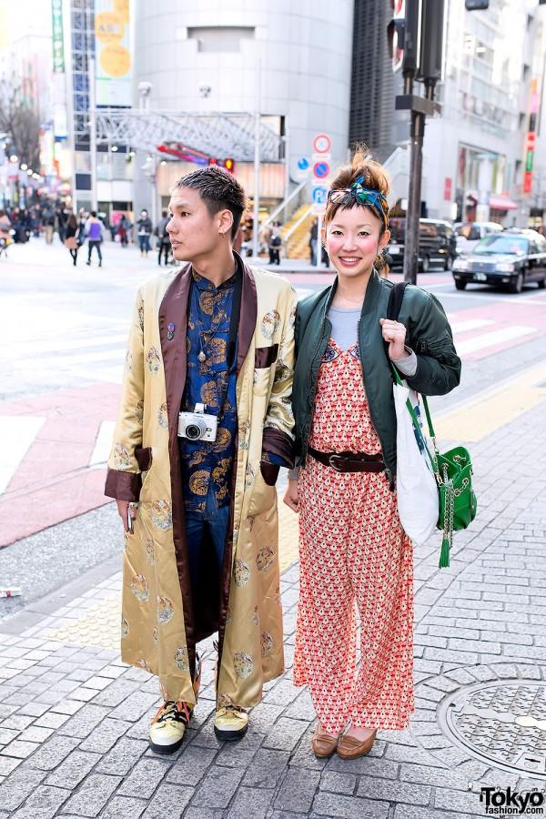 Silk Robe, Jumpsuit, Jeremy Scott Flame Shoes & Bomber in Shibuya