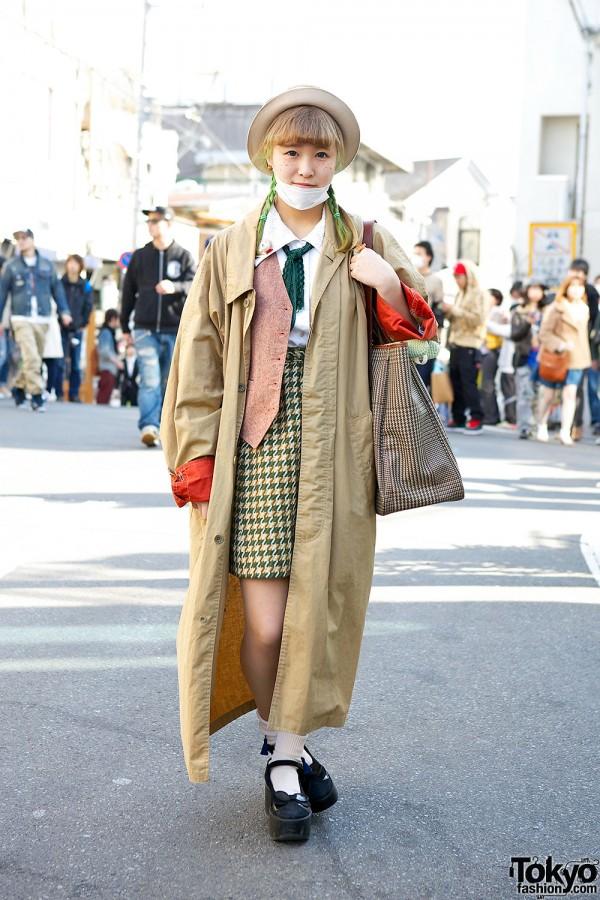 Green Braids w/ Kinji Trench Coat, Tokyo Bopper & Teddy Bears in Harajuku