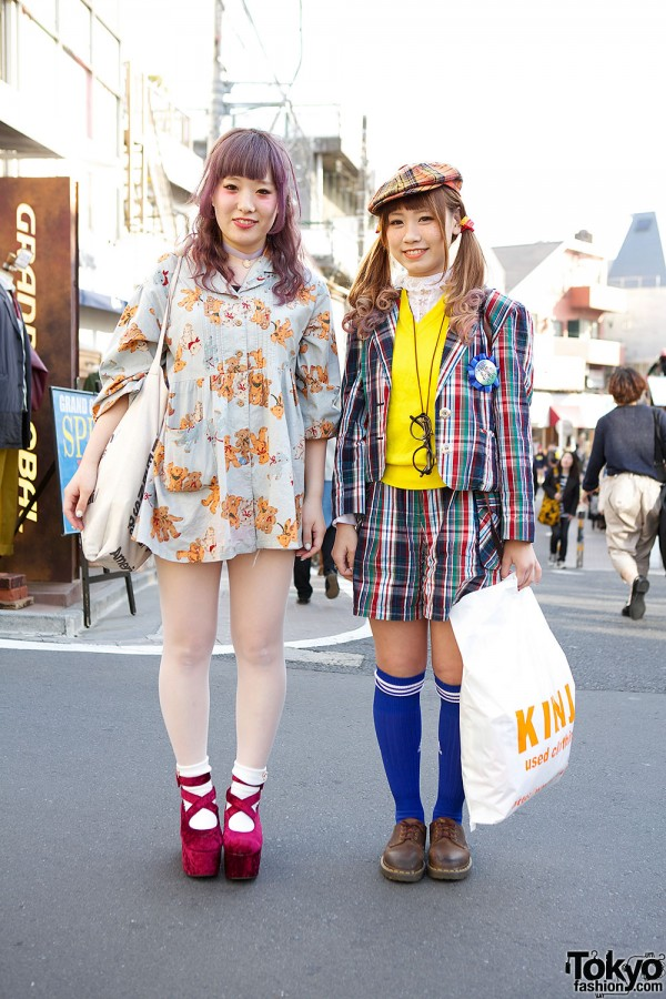 Plaid & Teddy Bear Print w/ Kinji Resale & Pink Hair in Harajuku