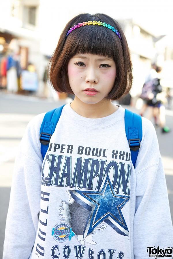Harajuku girl with bangs hairstyle