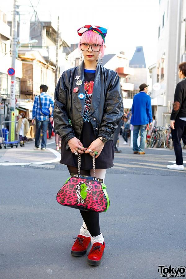 Tattooed Harajuku Girl in Leather Jacket