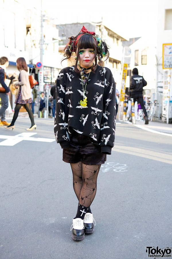 Boy London, Lighted Hair Accessories & Leaf Eyelashes in Harajuku
