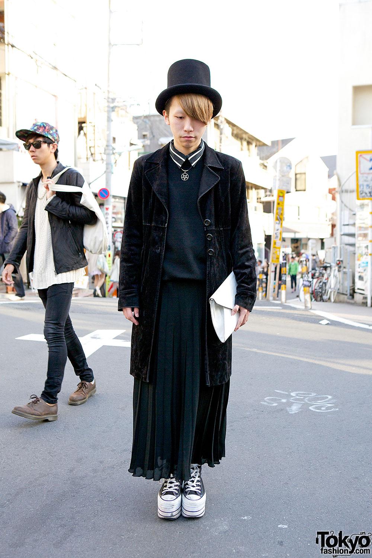 Harajuku Guy in Top Hat, Long Velvet