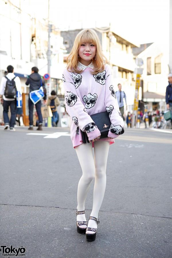 Joyrich Bear Sweater w/ Vivienne Westwood & Lil Lilly in Harajuku