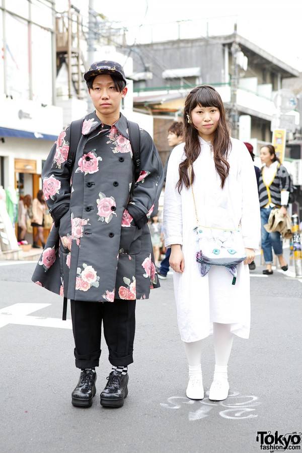 Comme des Garcons Floral Coat, AHCAHCUM.muchacha Bag & Popcorn Earring in Harajuku
