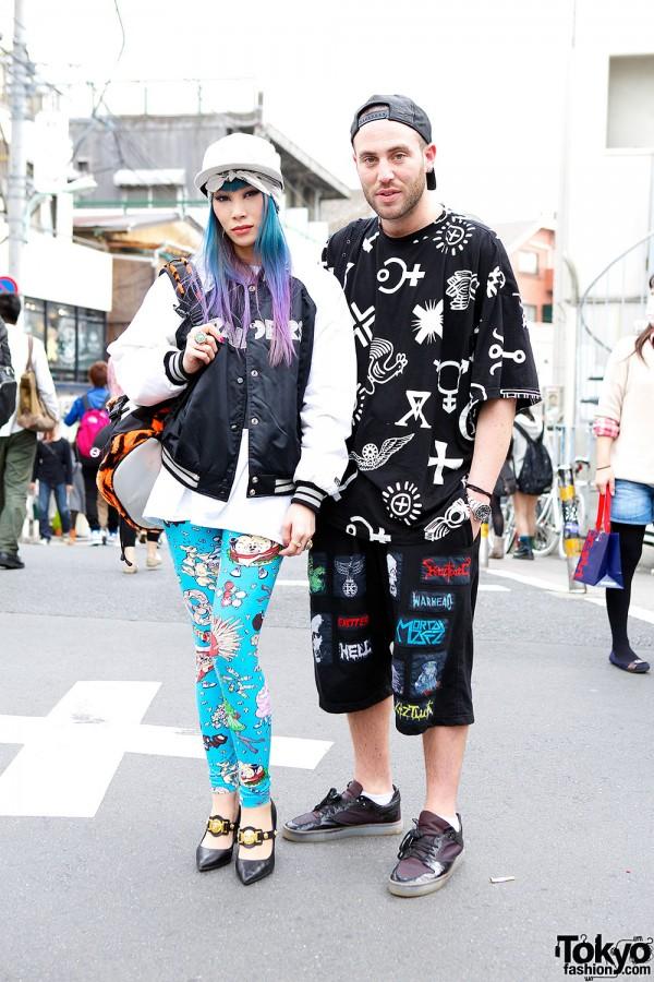 Mademoiselle Yulia in Jeremy Scott & GIZA on the street in Harajuku w/ KTZ's Mathew