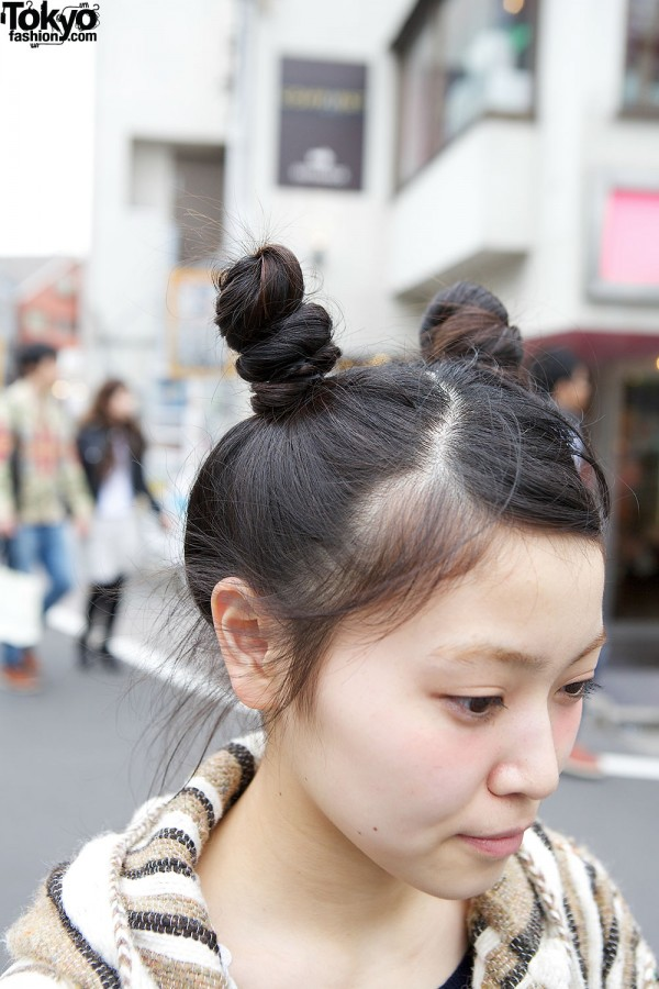 Twin buns hairstyle