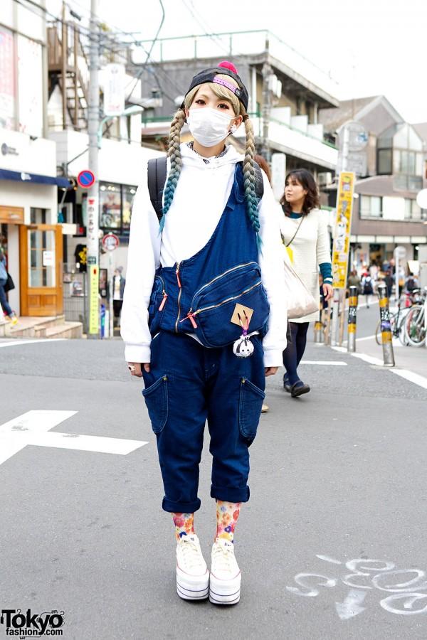 Mercibeaucoup Overalls w/ MxMxM Cap & Nadia Harajuku Platform Sneakers