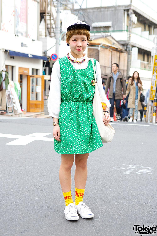 Green Floral Dress in Harajuku