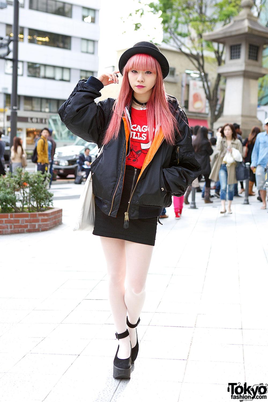 Cute Bomber jacket in Harajuku