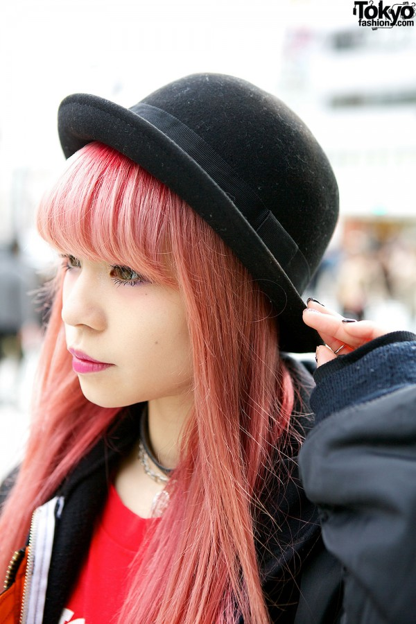 Bowler Hat & Pink Hair