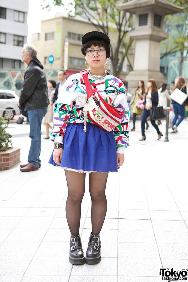 Harajuku Girl in Glasses w/ Colorful Kinji Sweatshirt, Mini Skirt & Dr. Martens Buckle Boots
