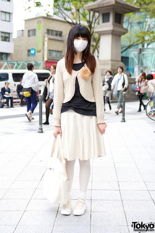 Knee length skirt and cardigan