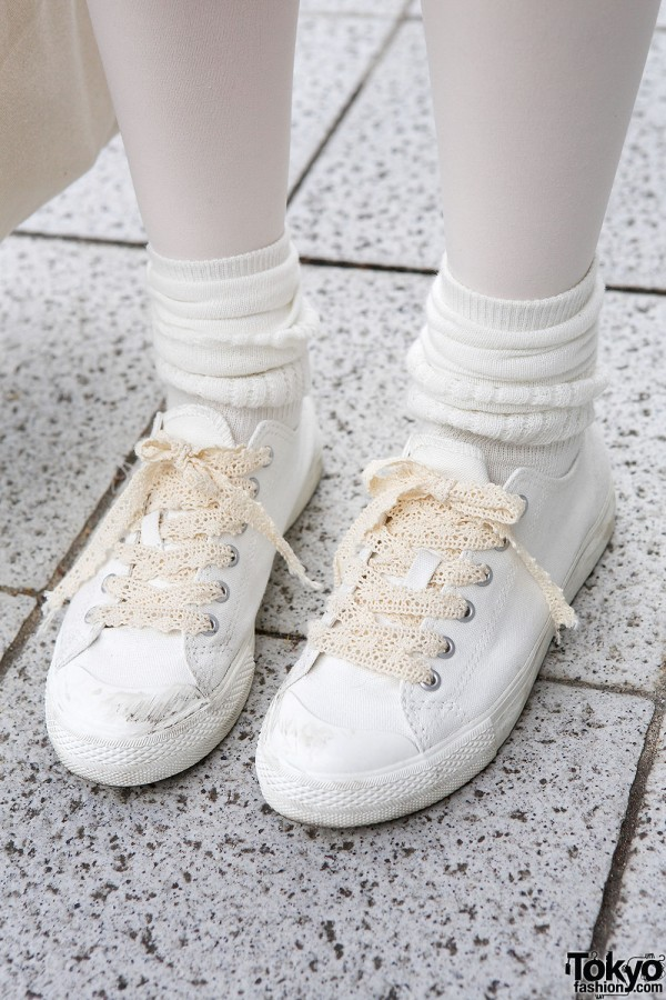 Sneakers with lace laces