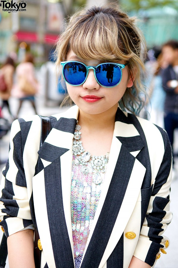 Resale Striped Blazer & Mirror Sunglasses