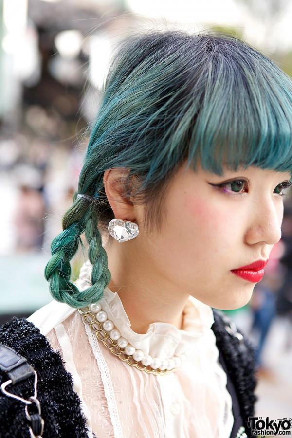 Blue-green Braided Hair