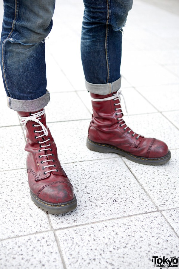 Burgundy Lace-Up Punk Boots