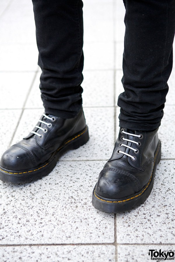 Black Lace-Up Punk Boots