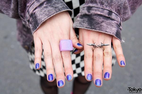 Blue Nails & Rings