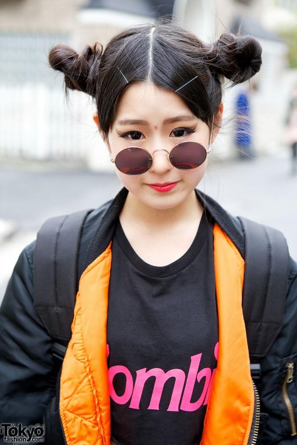 Round Sunglasses & Twin Buns