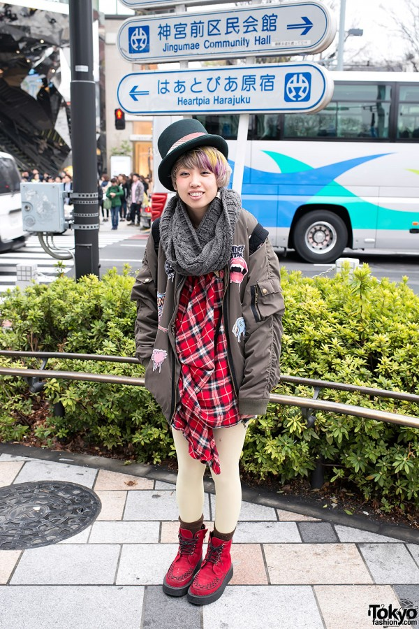 Harajuku Girl in Top Hat & Plaid