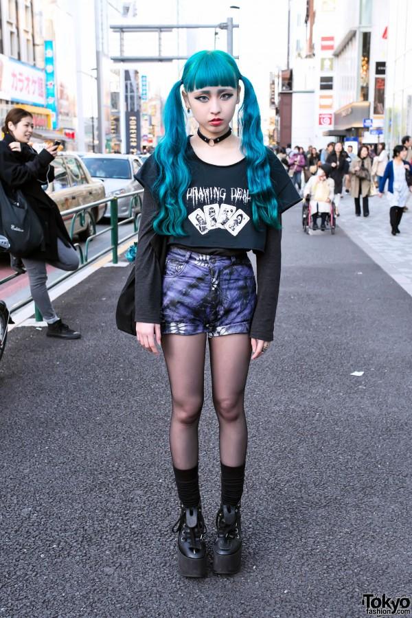 Blue Hair & Platforms in Harajuku
