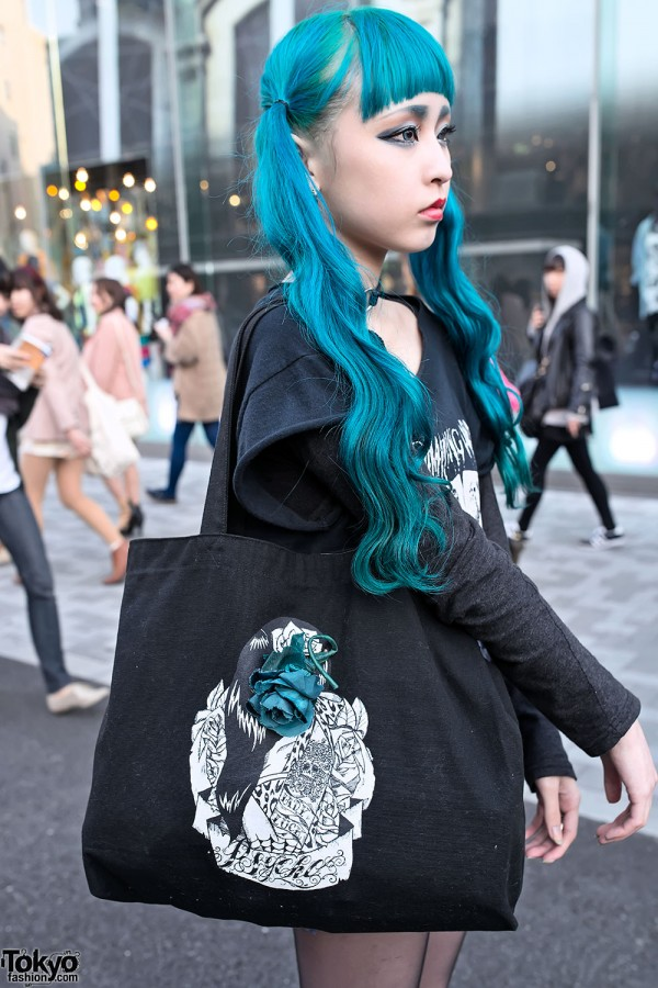Harajuku Gal W Rainbow Eye Makeup Silver Hair In Anap: Blue Twintails Hairstyle, Psycho Apparel & Tokyo Bopper In