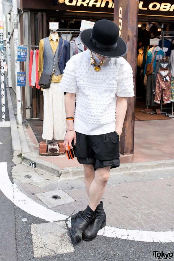 Aran w/ Juun.J 3D Embossed Top, Mawi Necklace & Julius Boots in Harajuku