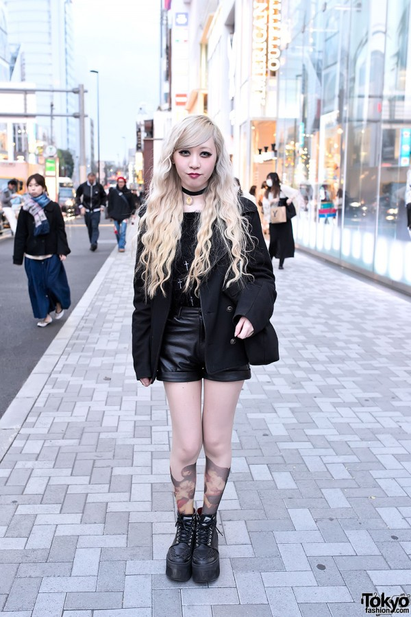 Black Faux Leather Shorts in Harajuku