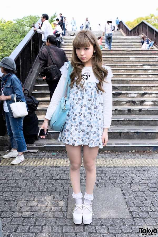 Candy Hearts Dress, Glass Heart Necklace & Ruffle Socks in Harajuku