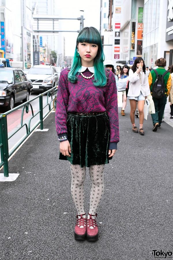 Chipa's Green Hair, Velvet Skirt & Tokyo Boppers in Harajuku