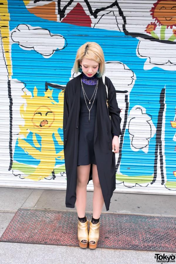 Black & Gold Harajuku Street Fashion
