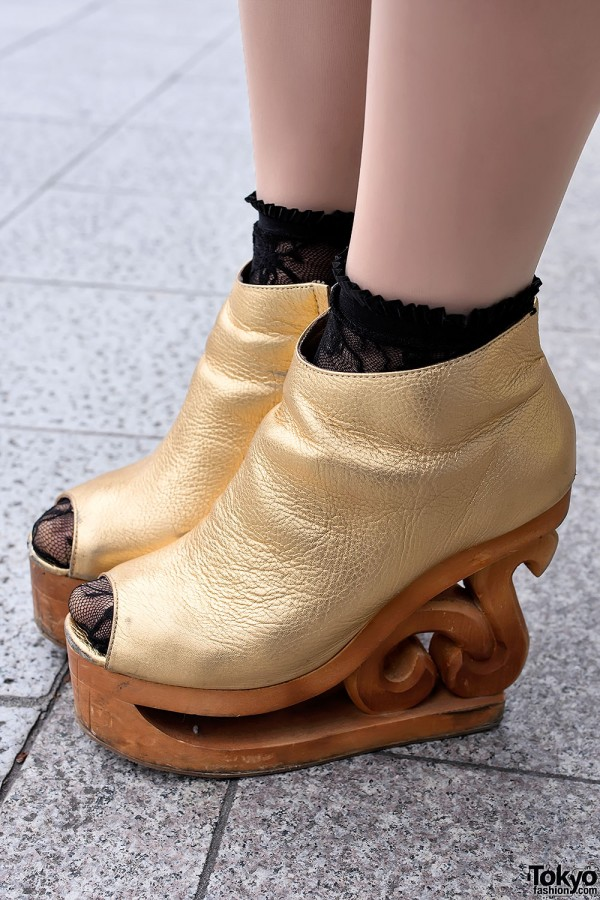 Gold Jeffrey Campbell Skate Platforms