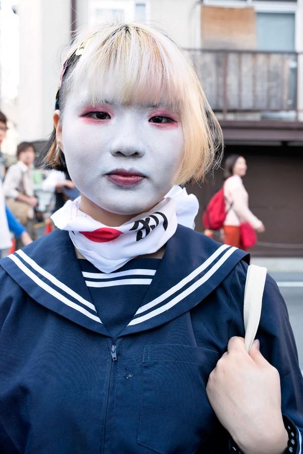Shironuri Wearing Japanese School Uniforms In Harajuku