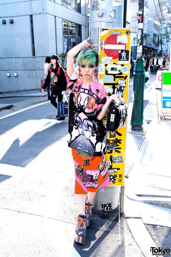 Hirari Ikeda w/ Hi Tek London Telephone Bag From Dog Harajuku