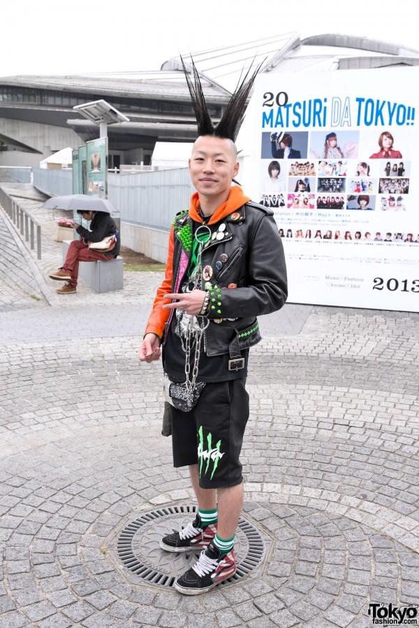 Shiritsu Ebisu Chugaku Fan w/ Mohawk & Studded Leather Jacket