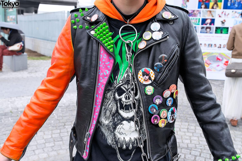 Studded Punk Leather Jacket - Jacket