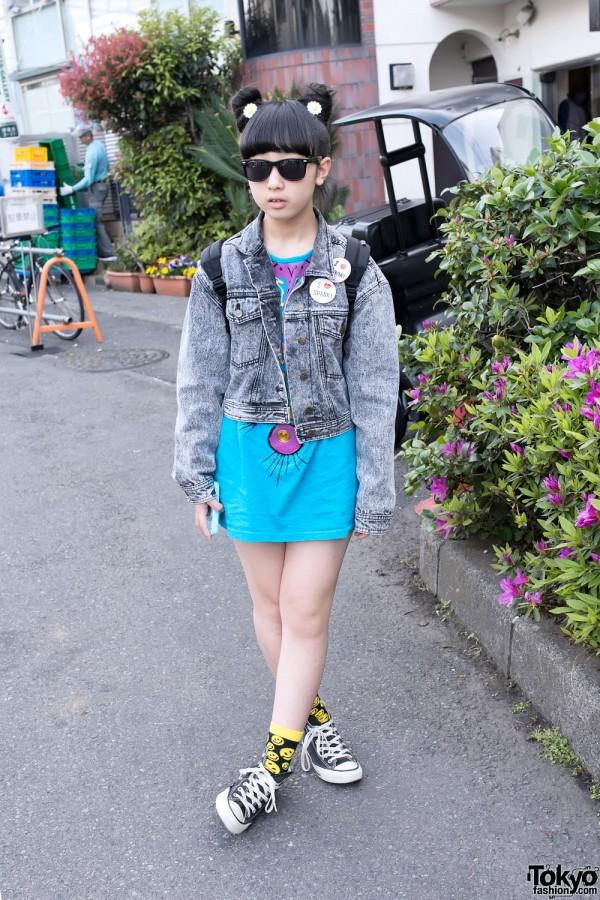 Monroe in Harajuku w/ Eye Jewels, Double Bun Hairstyle & Acid Wash