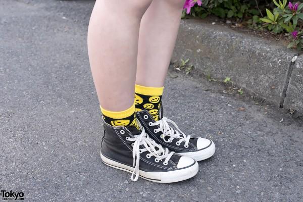 Smiley Socks & Converse Sneakers
