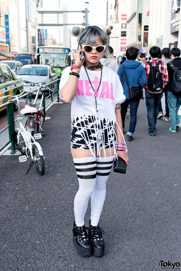 "Narumi's Green Hair, Nikki Lipstick ""METAL"" & Zip Bracelets in Harajuku"