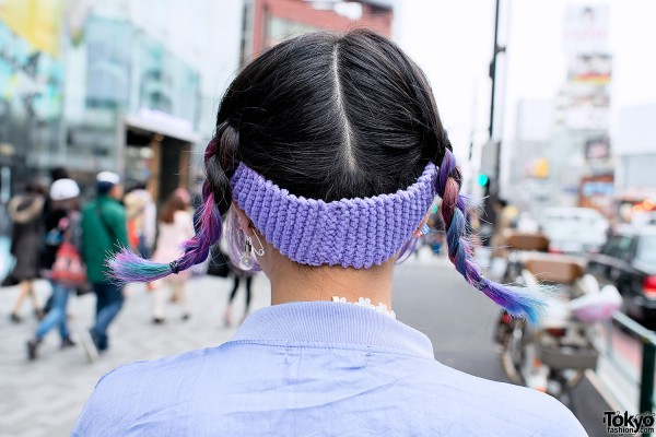 Pink-blue Braids Hairstyle in Harajuku
