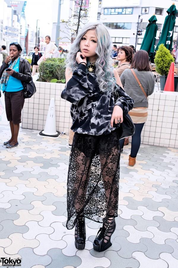 Silver Hair, Sheer Skirt & Heel-less Wedges in Harajuku
